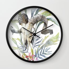 Short Day / Ram Animal Skull and Sarracenia Carnivorous Plant Platycerium Leaves Surreal Wall Clock