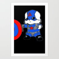 avenger Art Prints featuring Avenger Dog by Rocky Moose