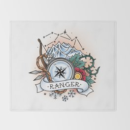 Ranger - Vintage D&D Tattoo Throw Blanket