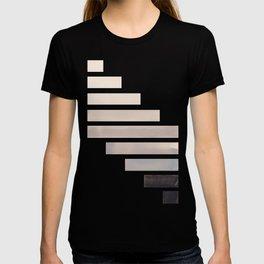 Grey Midcentury Modern Minimalist Staggered Stripes Rectangle Geometric Aztec Pattern Watercolor Art T-shirt