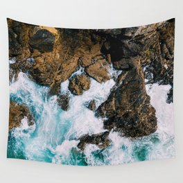 Ocean Waves Crushing On Rocky Landscape, Drone Photography, Aerial Landscape Photo, Ocean Wall Art Wall Tapestry