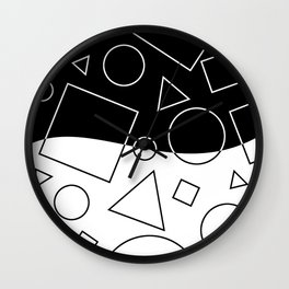 Black and White Geometric Shapes Wave Wall Clock