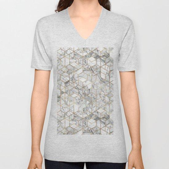 White marble geomeric pattern in gold frame by martaolgaklara