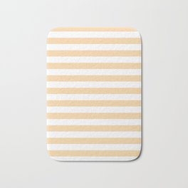 Narrow Horizontal Stripes - White and Sunset Orange Bath Mat
