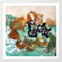 Lost Chromosome - Mixed Media Beeswax Encaustic Abstract Modern Art, 2015 Art Print