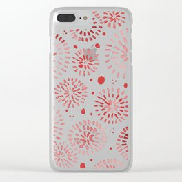 Abstract watercolor sparkles – red Clear iPhone Case
