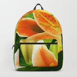 Vibrant Orange Star Lily Flower Backpack