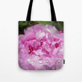 Pink Peony with Rain Drops Tote Bag