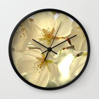 cherry blossom Wall Clocks featuring Cherry Blossom  by SouthernComfortArt