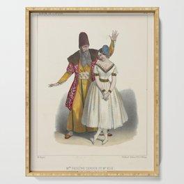 Alophe  LithographMelle Pauline Leroux et Mr Elie dans la scene de seduction eme acte du Diable amoreux Serving Tray