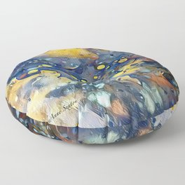 When Planets Align watercolor abstract by CheyAnne Sexton Floor Pillow