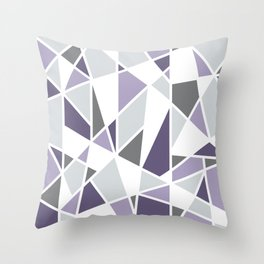 Geometric Pattern in purple and gray Throw Pillow