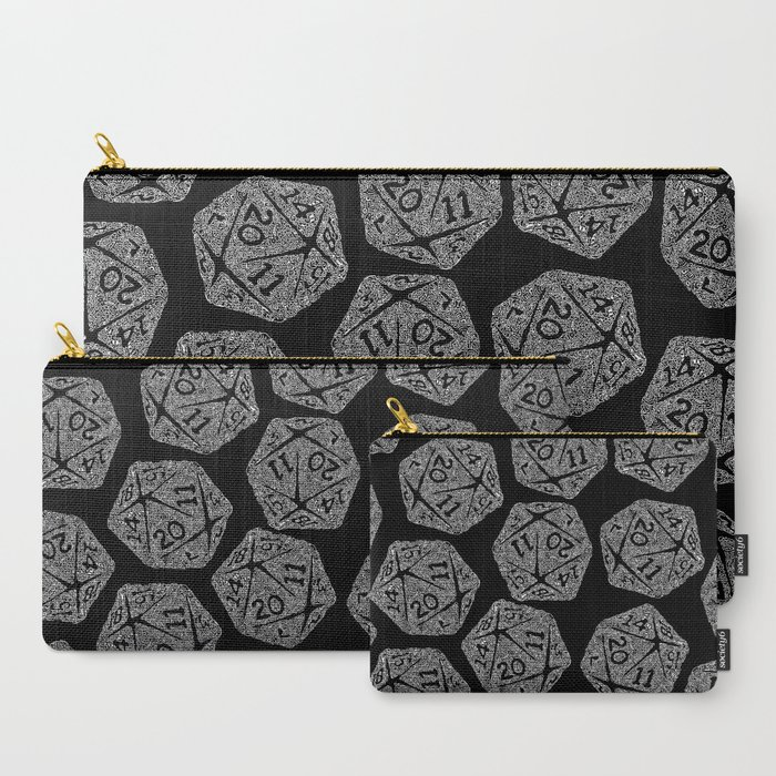 d20__white_on_black__icosahedron_doodle_pattern_CarryAll_Pouch_by_OfficePnuk__Set_of_3