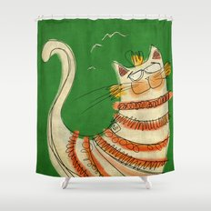 Cat - green Shower Curtain