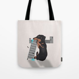 Attack of the Enormous Dachshund!!! Tote Bag
