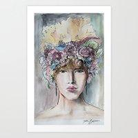 headdress Art Prints featuring Headdress  by Talitha Etters
