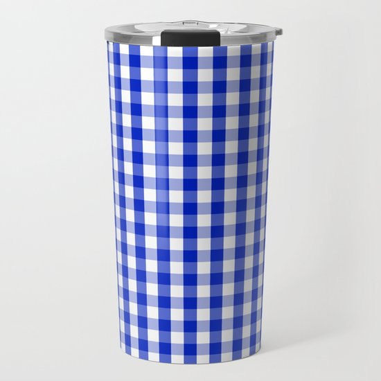 Cobalt Blue and White Gingham Check Plaid Squared Pattern by podartist