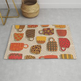 Patterned Cups and Glasses Rug