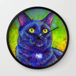 Little House Panther - Colorful Black Cat Wall Clock