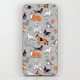 Origami doggie friends // grey linen texture background iPhone Skin
