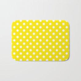 Polka Dot Yellow And White Bath Mat