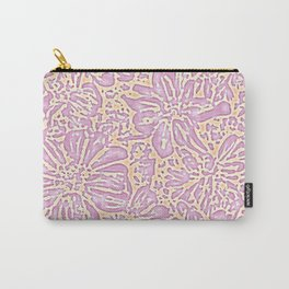 Marigold Lino Cut, Batik Pastel Pink And Orange Carry-All Pouch