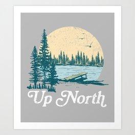 Vintage Retro Up North Lake Art Print