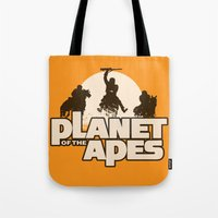 planet of the apes Tote Bags featuring Planet of the Apes by leea1968