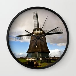 Traditional Dutch Windmill Wall Clock
