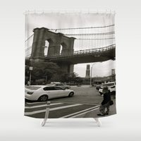 brooklyn bridge Shower Curtains featuring Brooklyn Bridge by Grace