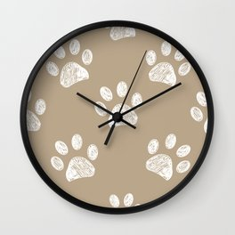 Light brown colored paw print pattern background Wall Clock