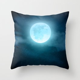 Realistic full moon on night sky with clouds Throw Pillow