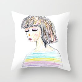 Girl with color straps shirt Throw Pillow