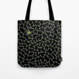 Blue/Green Dots in Black Design Tote Bag