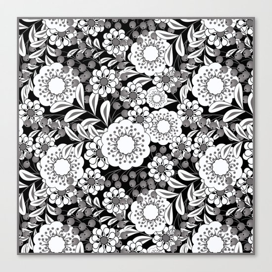 White flowers on a black background. Canvas Print