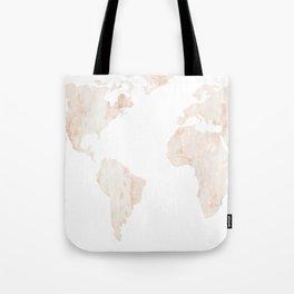 Marble World Map Light Pink Rose Gold Shimmer Tote Bag