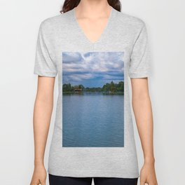 Sailing boats harbor Unisex V-Neck