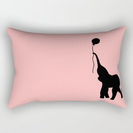 Elephant with Balloon - Pink Rectangular Pillow