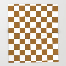 Checkered - White and Golden Brown Throw Blanket