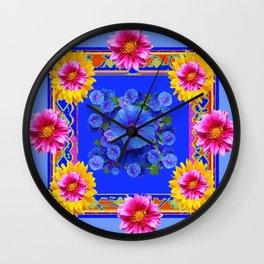 BUTTERFLIES FUCHSIA DAHLIA SUNFLOWER MORNING GLORY BLUE  FLORAL Wall Clock