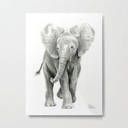 Baby Elephant Watercolor Metal Print