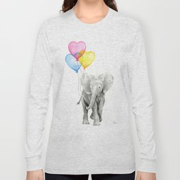 Elephant Watercolor with Balloons Rainbow Hearts Baby Animal Nursery Prints Long Sleeve T-shirt