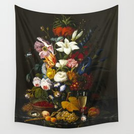 Severin Roesen - Victorian Bouquet Wall Tapestry