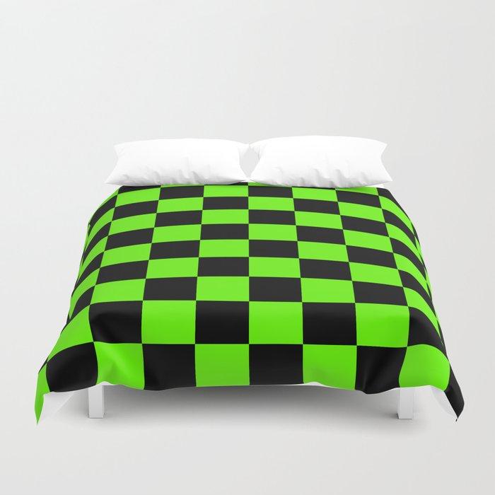 Checkered Pattern: Black & Slime Green Duvet Cover