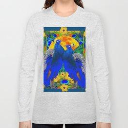 TEAL YELLOW HIBISCUS & BLUE PEACOCKS ART Long Sleeve T-shirt