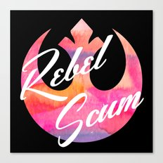 Rebel Scum Sunset Watercolor on Black Canvas Print