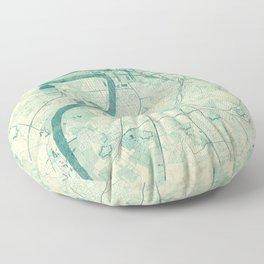 Antwerp Map Blue Vintage Floor Pillow