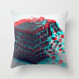 Abstract 3D Cube Bursting Shattering Ultra HD Throw Pillow