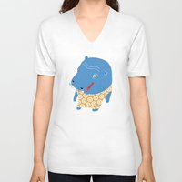 hippo V-neck T-shirts featuring Hippo by Jennifer Nystedt