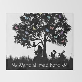 We're All Mad Here III - Alice In Wonderland Silhouette Art Throw Blanket